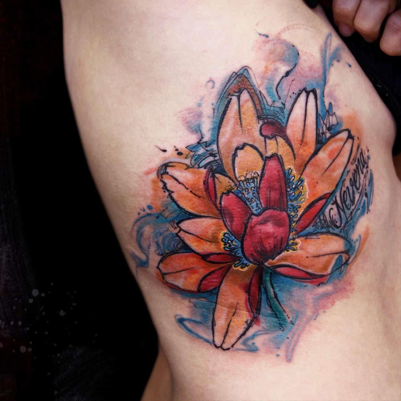 ejemplo flor de loto rojo