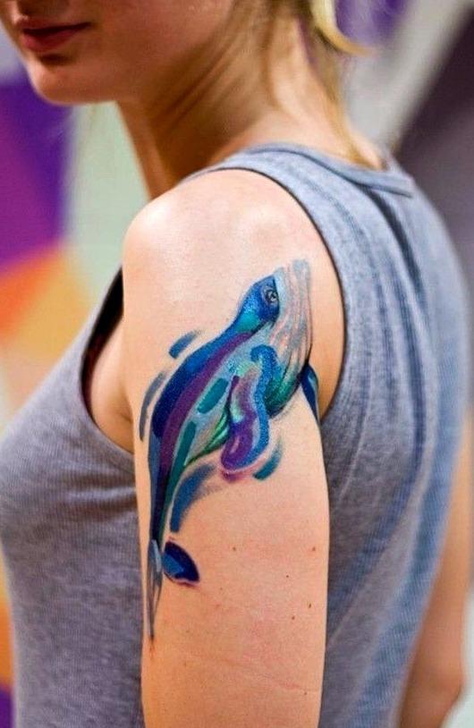 Tattoos de delfines a la acuarela