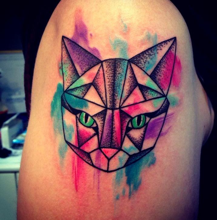 Tattoos de gatos al estilo acuarela