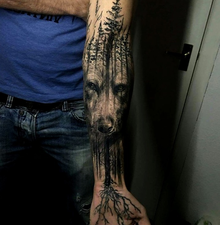 21 ideas de tatuajes de lobos de hombre mujer fotos for Calavera lobo