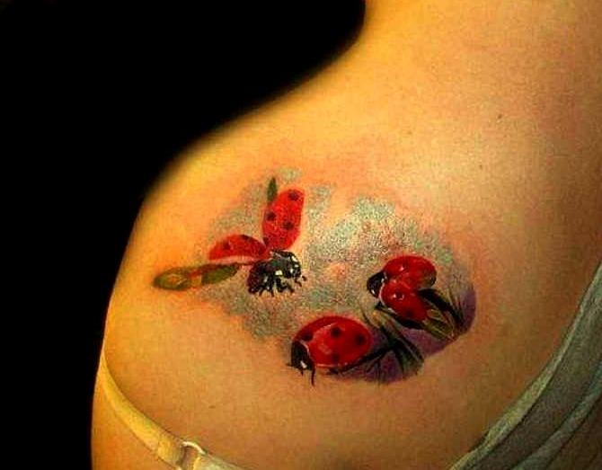 Tattoos de mariquitas volando