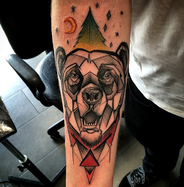 Tattoos de osos al estilo geométrico