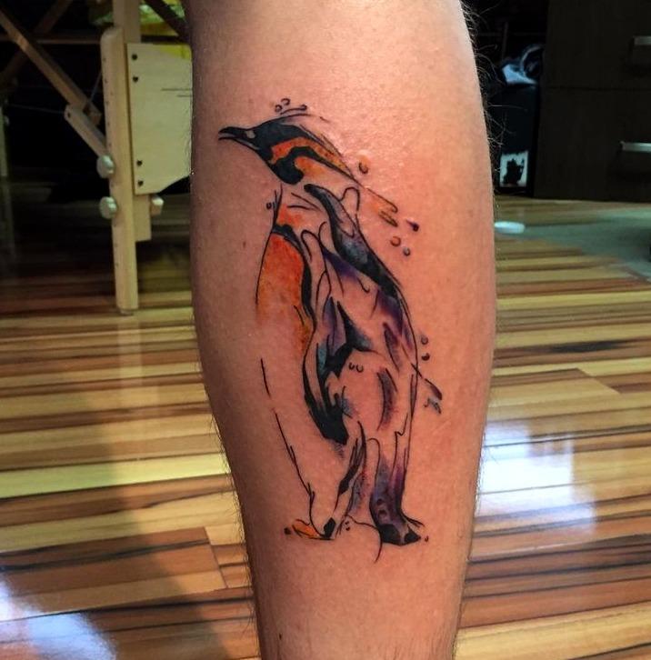 Tattoos de pingüinos al estilo acuarela
