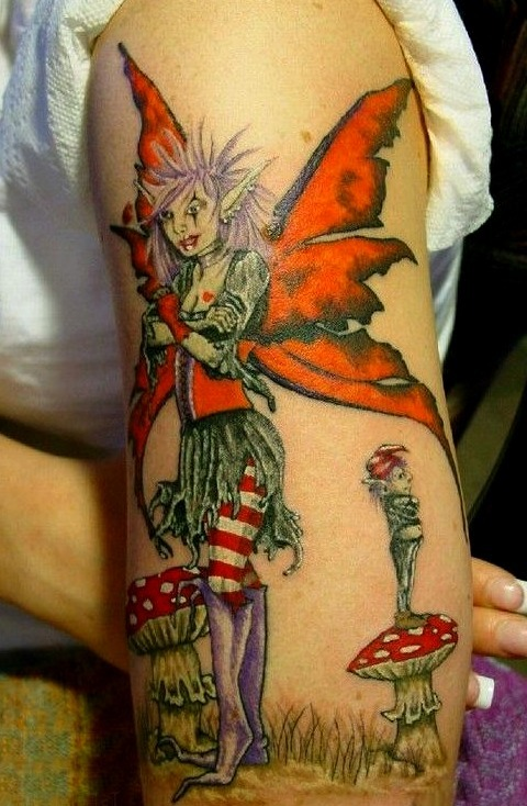 Tatuaje de duende y hada