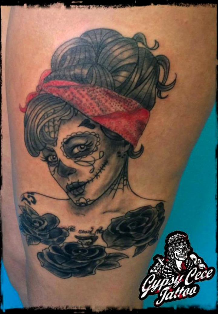 Tatuajes de calaveras pin up