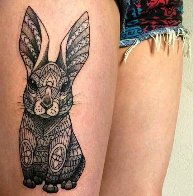 Tatuajes de conejo al estilo geométrico