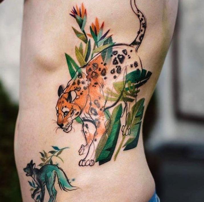Tatuajes de leopardo al estilo acuarela