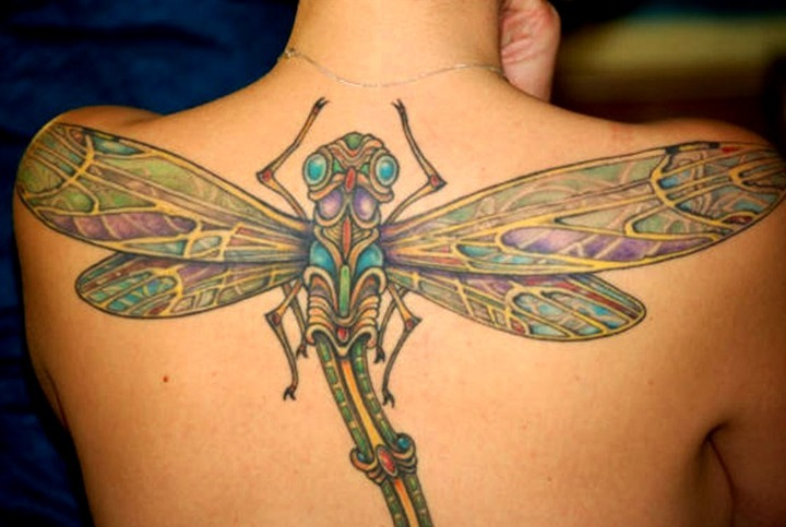 Tatuajes de libélulas en la espalda