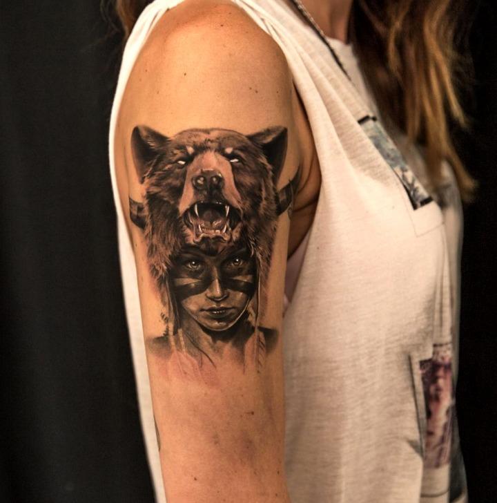 Tatuajes de osos pardos, negros y grises