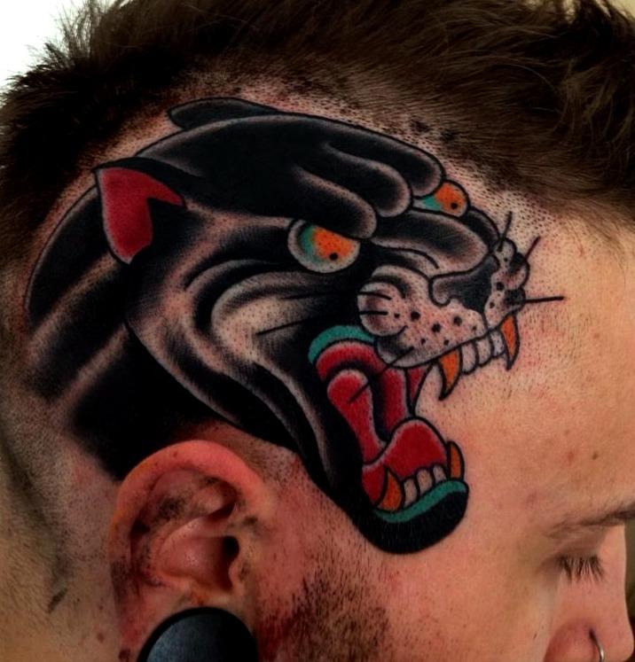Tatuajes de pantera Old School
