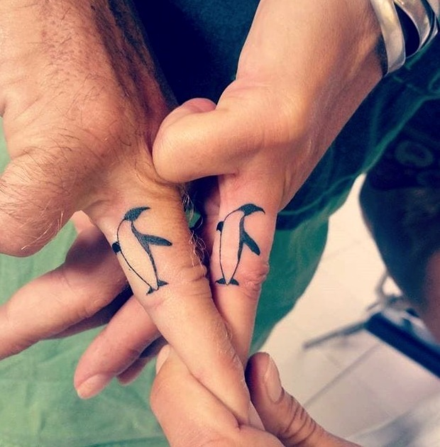 Tatuajes de pingüinos para parejas