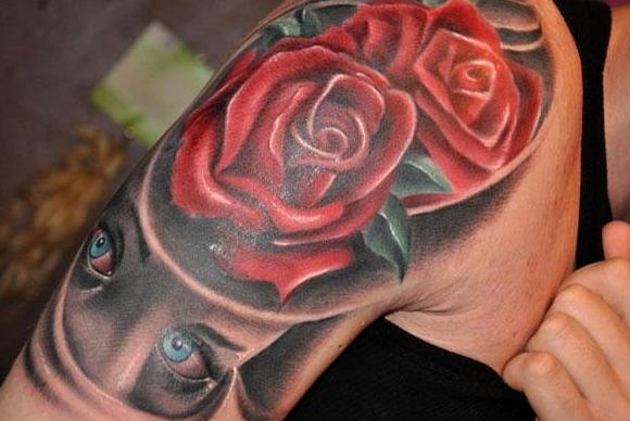 Tatuajes de rosas rojas