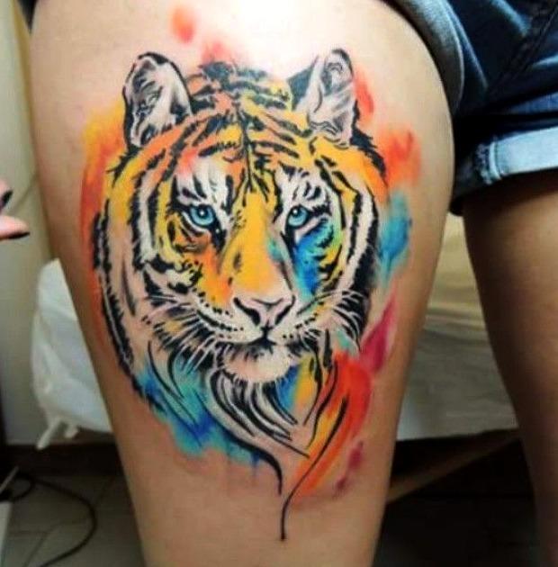 Tatuajes de tigre a la acuarela