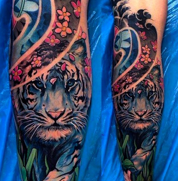 Tatuajes de tigre azul