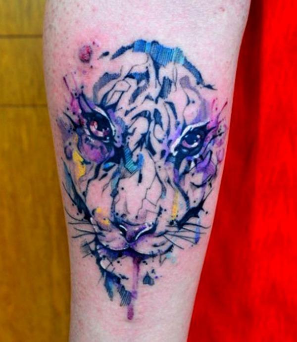 Tatuajes de tigres geométricos