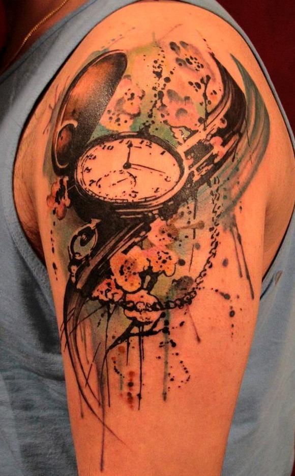 Tatuaje Reloj De Bolsillo En Antebrazo Sfb