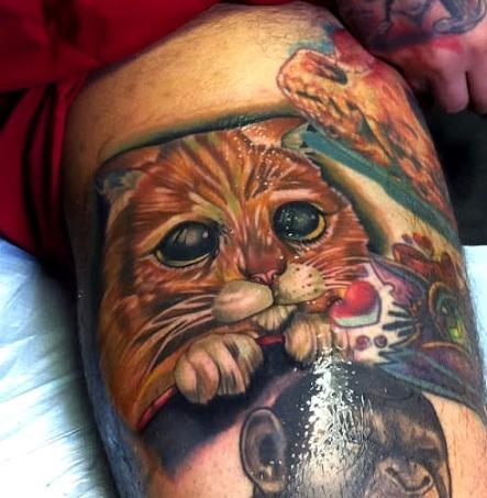 Tatuajes del gato de Shrek: el gato con botas