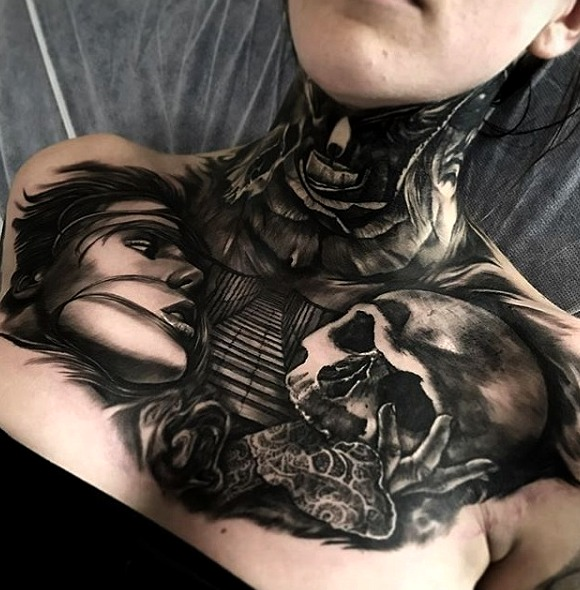 Tatuajes en el pecho para mujeres